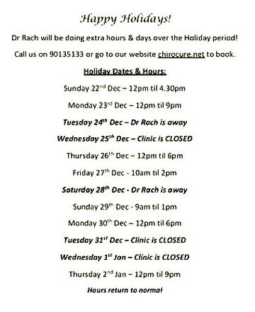 Holiday Hours Dr Rachel Duncan - Chiropractor ChiroCure Clinic